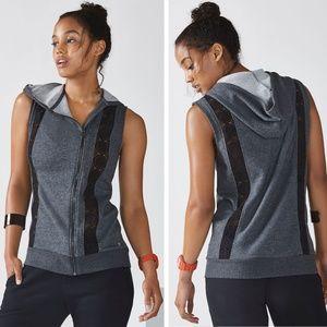 Fabletics Saige Vest Hoodie Charcoal Heather Black